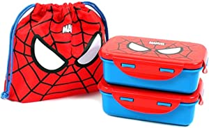 Lilpang Set of 2 Spider-Man Lunch Boxes with Lunch Bag Lightweight Kids Bento Food Storage