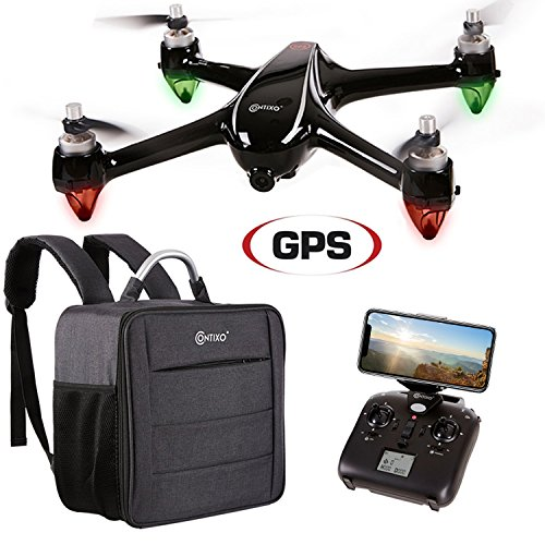 Contixo F18 RC Remote & App Controlled Quadcopter Drone | 1080p HD WiFi Camera Live Video Streaming Altitude Hold GPS FPV Brushless Motors RTH for Beginners Adults Plus Backpack Storage Drone Case