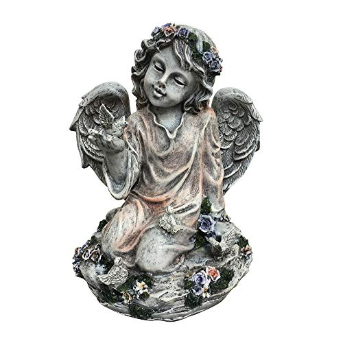CYA-DECOR Angel with Heart Indoor/Outdoor Statue,Angel Figurine Ideal Accent for Gardens, Walkways, Decks, Patios (13.6)