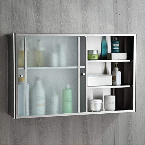 ミラーキャビネット 浴室の壁のキャビネット、トイレスペースセーバーストレージキャビネットキッチンキャビネット食器棚医学オーバー (Color : Brushed glass, Size : 60x38x20cm)