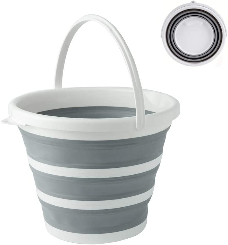 BROADSEAL Collapsible Mop Bucket with Handle,Portable Fishing Water Pail,Car Wash Bucket,Collapsible Bowls for Camping,10L (2.6 Gallon) Plastic Bucket (Gray)