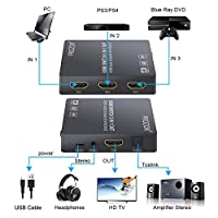 Proster 3x1 HDMI Switch with Audio Extractor HDMI Switcher HDMI Audio Converter Include PIP IR Remote and 3.5mm Male to 2 RCA Female Stereo Audio Cable Support 4K 3D by Proster Trading Limited