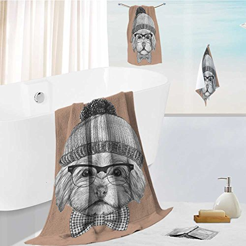 Piece State Glass 3 (SOCOMIMI Luxury 3-Piece 100% Combed Cotton Bath Towel Set portrait of havanese with glasses hat and bow tie hand drawn illustration Soft & Absorbent)