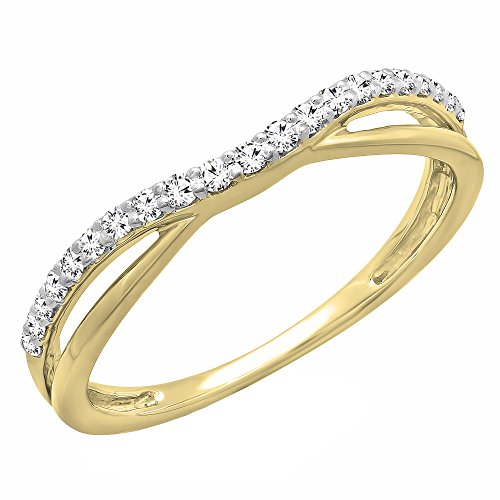 Dazzlingrock Collection 0.25 Carat (ctw) 14K Round Diamond Anniversary Wedding Guard Contour Band 1/4 CT, Yellow Gold, Size 5 ()