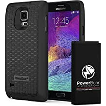 PowerBear Samsung Galaxy Note 4 Extended Battery [7500mAh] & Back Cover & Protective Case (Up to 2.3X Extra Battery Power) - Black [24 Month Warranty & Screen Protector Included]