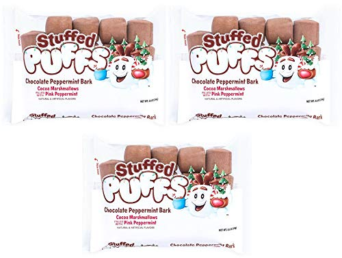 Stuffed Puffs – Chocolate Peppermint Bark 3 Pack, Chocolate Filled Marshmallows with Stuffed with Peppermint, Perfect for Hot Cocoa, 3 Bags (8.6oz each)