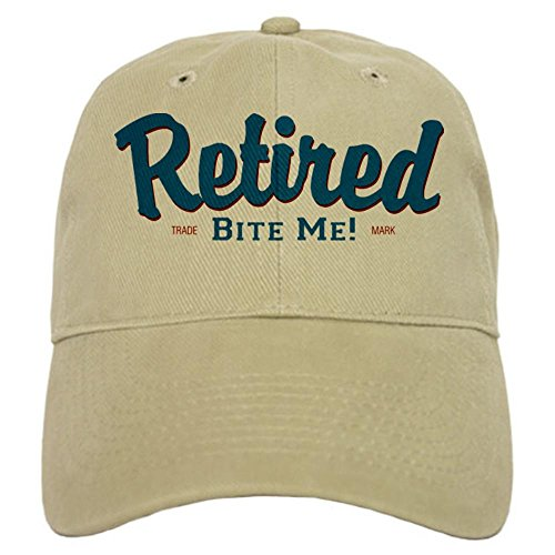 tired Bite Me Retirement Cap - Baseball Cap with Adjustable Closure, Unique Printed Baseball Hat Khaki ()