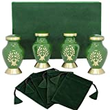 urn for spreading ashes - Tree of Life Mini Keepsake Urns for Human Ashes - Set of 4 - Beautiful, Timeless, Classic - Find Comfort Everytime You Look at This Small High Quality Cremation Urns - with Velvet Urn Case