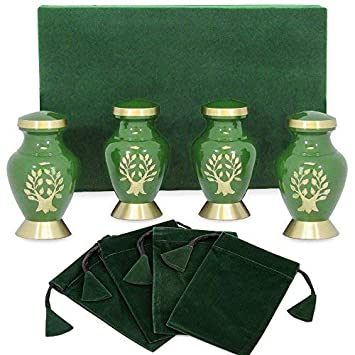 Tree of Life Small Keepsake Urns for Human Ashes – Set of 4 – Beautiful, Timeless, Classic – Find Comfort Everytime You Look at These Mini High Quality Cremation Urns – with Velvet Urn Case
