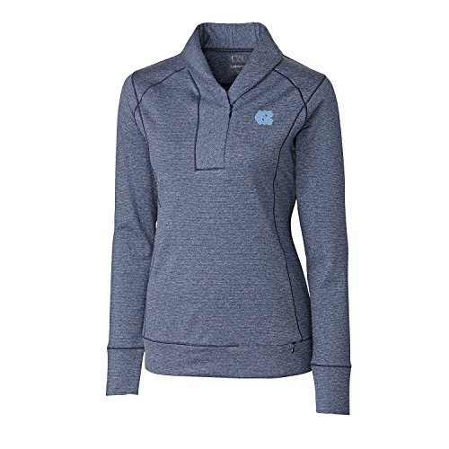 Cutter & Buck NCAA North Carolina Tar Heels Women's Shoreline Half Zip Top, XX-Large, Liberty Navy Heather ()