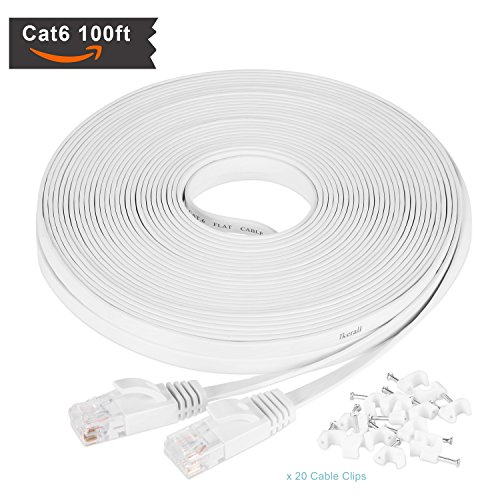 Utp Cat5 Flat Cable - Cat6 Ethernet Cable 100 ft White with Free White Cable Clips - Ikerall RJ45 Flat Ethernet Patch Cable Internet Wire 100 Feet(30.5 Meters) - Compatible with Cat5e / Cat5 Standards