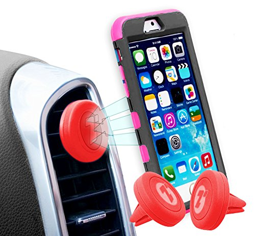 Zone Tech Air Vent Magnetic Car Mount Holder - 2-Pack Premium Quality Universal Air Vent Red Magnetic Car Mount Holder for Smartphones and Mini Tablets