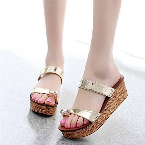 pantofole tacchi primavera 8cm le summer 5 golden scarpe sandali moda GTVERNH 39 il indossare diamante spugna semplice 5q16x