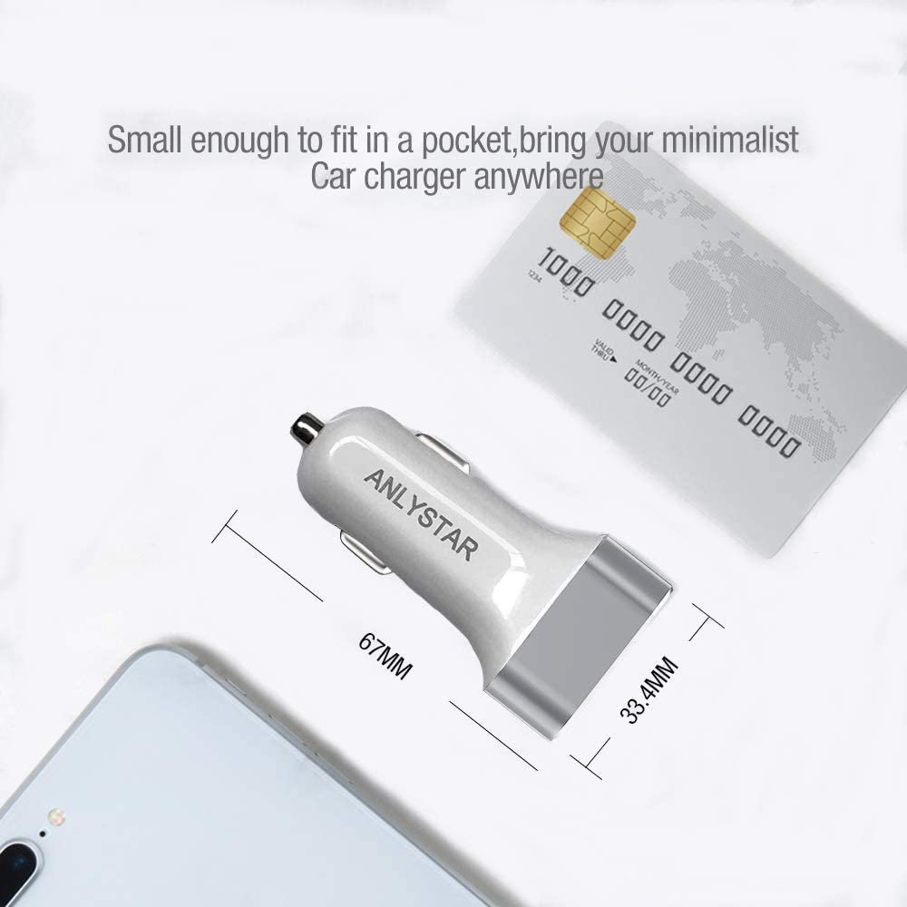 iPad Air 2//Mini 3 Car Charger iPad HTC LG Galaxy Note 10 S10 S8 S9 Note 8 ANLYSTAR Quick Charge 3.0 36W Dual USB Car Charger Fast Car Charging Compatible iPhone X 8 7 6s Plus