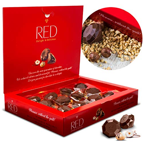 (Mother's Day Gift, RED Delight Milk Chocolate w/ Hazelnut Filling & Pralines All Natural Ingredients Low Calories, Keto No Added Sugar Health Vegan Gluten Free Diet Food Snack Non GM)