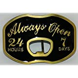 ALWAYS OPEN 24/7 ANTIQUE BRASS AND BLACK ENAMEL BOTTLE OPENER DESIGN New High Quality Belt Buckle. This item ships from Cornwall, Ontario, Canada.