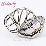 ccTina SODANDY Male Chastity Devices Bondage Penis Rings Cock Lock Stainless Steel Chastity Belt Metal Skew Cock Cage Sex Toys For Men 1pcs