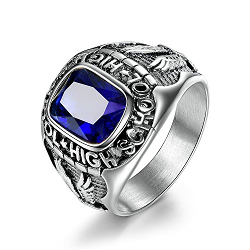 MASOP Stainless Steel High School Rings for Men Sappire Color Royal Blue Crystal Boys Jewelry Rings Size 8