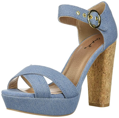 Qupid Women's Platform Sandal Heeled, Light Blue Denim, 8 M ()