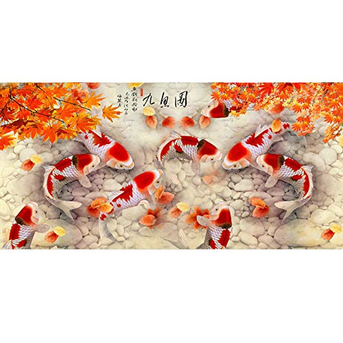 (44x94cm)Diamond Embroidery koi Fish Full Square DIY Diamond Painting Nine Fish icon 3D Drill Diamond Mosaic Paste Needlework ()