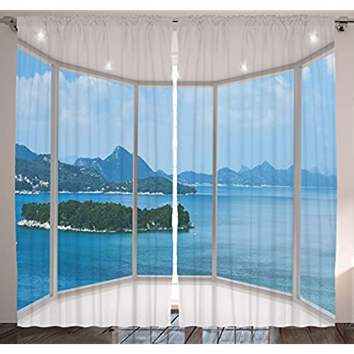 Bedroom Curtains Nature Home Balcony Decor By Ambesonne Seascape Beach Seaside Hills Trees View From Window Theme Picture Living Room Curtain 2