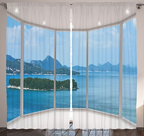 Nature Modern Home Decor Curtains by Ambesonne, Seascape Beach Seaside Hills Trees View from Window Picture, Window Drapes 2 Panel Set for Living Room Bedroom, 108 X 84 Inches, Blue and White