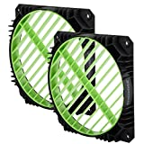 Enermax Air Guide 360° Rotatable Fan Grill, Solution to Airflow Management Twin Pack Green, EAG001-G