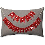 Pillow Perfect Country Home Rectangular Throw Pillow, Merry Christmas Red/Biscuit