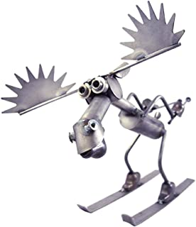 product image for Skiing Moose - American Made Recycled Metal Indoor/Outdoor Sculpture, 22""