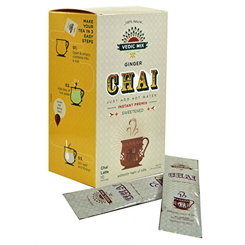Vedic Mix Sweetened Chai Tea Latte, Ginger (10 Single-serve Packets)