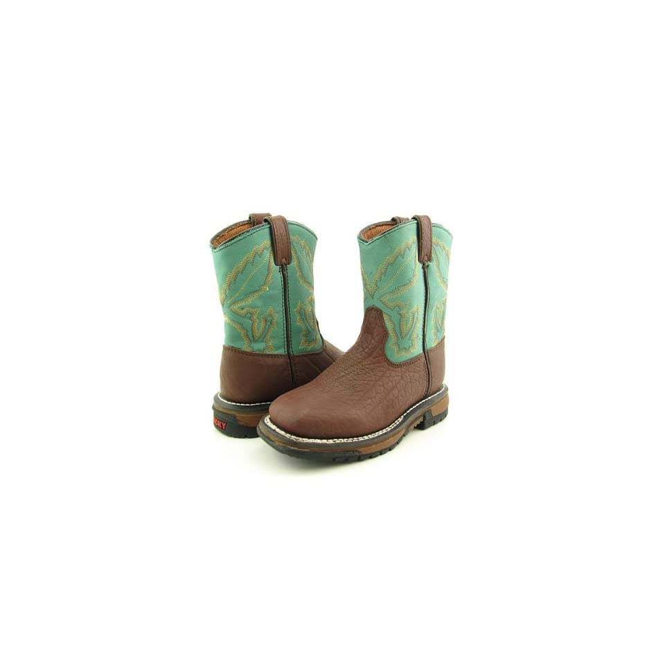 ROCKY 3591 7 Ride Bean Toe Western Boots Shoes Aqua Youth Kids Boys