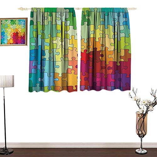 """Slunmarl AbstractThermal Insulation curtainColorful Puzzle Pieces Fractal Children Hobby Activity Leisure Toys Cartoon ImageSun Isolation Curtain Protection UV Pare42×36"""" Multicolor from Slunmarl"""