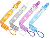 Image of 4 PACIFIER CLIP HOLDER SET By Elefuntot | Stylish Binky Clip Keeps Dummy Sanitary Secure & Safe From Falling, Chevron & Starfish Design, Unique Gift, Guaranteed