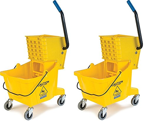 Carlisle 3690804 Commercial Mop Bucket With Side Press Wringer, 26 Quart Capacity, Yellow (2 PACK)
