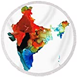 Pixels Round Beach Towel With Tassels featuring ''Map Of India By Sharon Cummings'' by Sharon Cummings