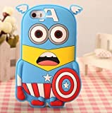 3d Cartoon Apple iPod Touch 4th 5th 6th Generation Cases with SufsTm Accessory (iPod Touch 5th / 6th Generation, Captain America Minion)