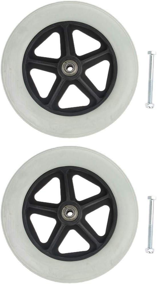 2 ruedas universales de 19 cm – Ruedas sólidas de repuesto para silla de ruedas, scooters – Rodamiento de 5/16 pulgadas AOD