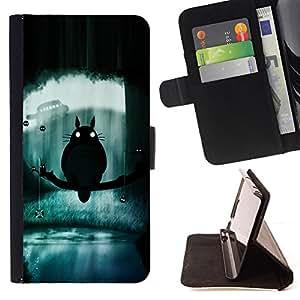 - Totoro - - Prima caja de la PU billetera de cuero con ranuras para tarjetas, efectivo desmontable correa para l Funny HouseFOR LG G3