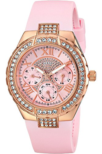 Guess W0300L3 Pink and Rose Gold-tone Sparkling Hi-energy Ladies Watch