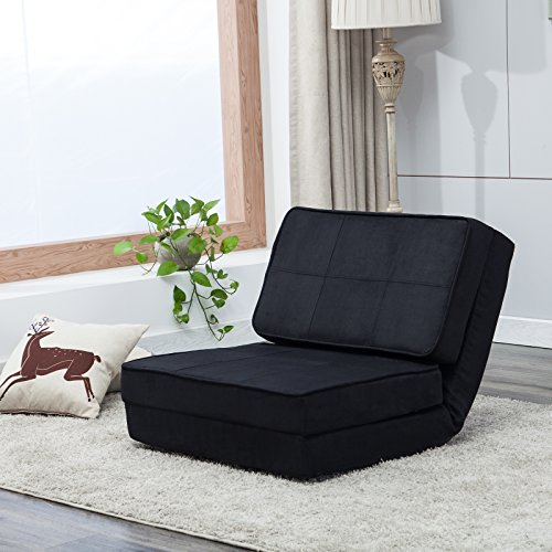 Mecor Sofa Bed Fold Down Chair Flip Out Lounge Convertible Sleeper Bed,Black