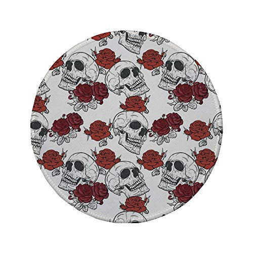 Non-Slip Rubber Round Mouse Pad,Skull Decorations,Retro Gothic Dead Skeleton Figures with Rose Halloween Spooky Trippy Romantic,Grey,7.87