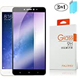 [3-PACK] Nacodex For Xiaomi Max 2 [Full Cover] Tempered Glass Screen Protector 9H HD Clear Anti-Scratch with Lifetime Replacement Warranty (Black)