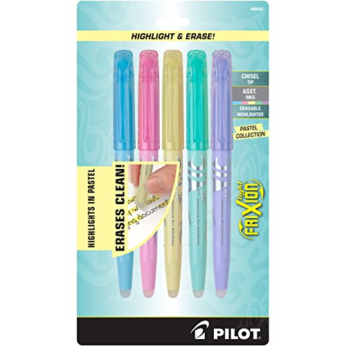 Pilot FriXion Light Pastel Collection Erasable Highlighters Set of 5 Yellow Pink Green Purple Blue;  Too Much, or The Wrong Color Highlighted? No Need To Stress with America's #1 Selling Pen Brand by Pilot (Image #1)