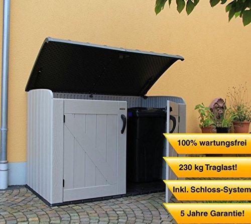 Lifetime XXL Kunststoff Mülltonnenbox, Gerätebox, Aufbewahrungsbox // BxTxH 190x108x132cm // Gartengerätebox für Mülltonnen