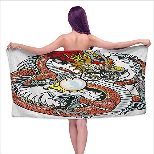 Andasrew Sports Towel Dragon,Traditional Chinese Creature Holding A Large Pearl Zodiac Signs Folk Tattoo Graphic, Multicolor,W12 xL35 for Bathroom Striped