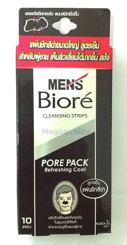 Biore Pore Pack - Biore MEN Nose Deep Cleansing Pore Pack Refreshing Cool 10 Strips # Black Made in Thailand