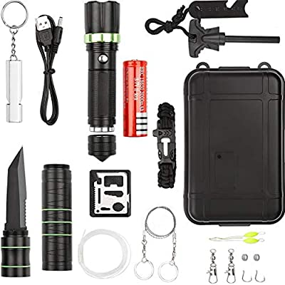 ANGAZURE 17 in 1 Tactical Survival Kit Professional Outdoor Survival Gear kits for Hiking Biking Camping Adventures Hunting from ANGAZURE