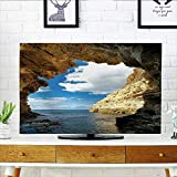 Leighhome Cover for Wall Mount tv Cave Magical Morning Sunbeam on Sacred Gen Pavilion in Dark Cover Mount tv W36 x H60 INCH/TV 65'