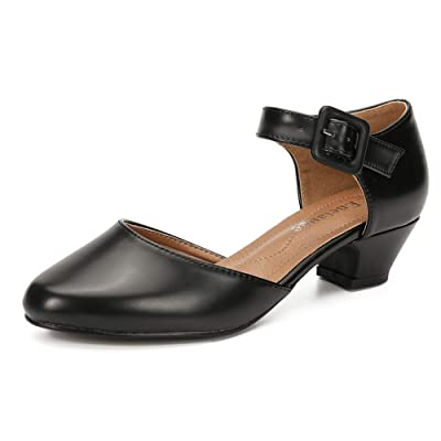 Enelauge Women's Ankle Strap Closed Toe Low Chunky Heel Dress Work Pumps   Pumps