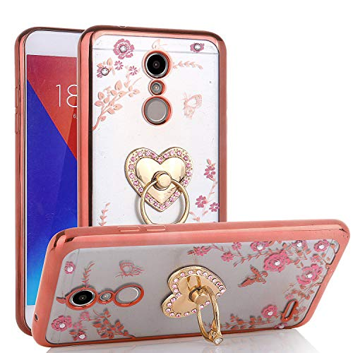 LG K30 Case, LG Xpression Plus/Premier Pro/Phoenix Plus /K10 2018 /Harmony 2, Glitter Crystal Heart Floral Series - Slim Luxury Bling Rhinestone Clear TPU Case with Ring Stand - Rose Gold